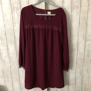 Burgundy long sleeve sheath dress with lace Size L